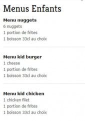 Menu Chicken Corner - Menu enfant