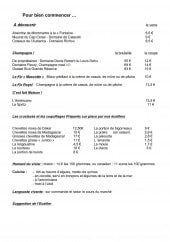 Menu La Mascotte - Les champagnes, crustacés,....