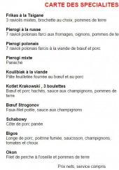 Menu Restaurant Polonais Mazurka - Les spécialités