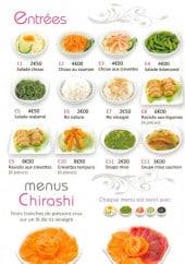 Menu Sushi Tentation - Les entrées et les menus chirashis