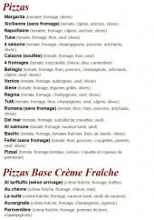 Menu La Suite - Les pizzas