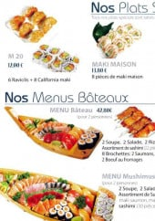 Menu MushiMushi - Les plats spécials et menus bâteaux