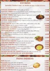Menu Palais de l'Inde - Les entrées, pains indiens, plats