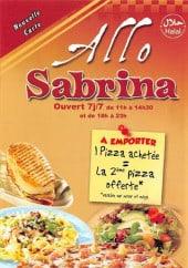 Menu Pizza Sabrina - Carte et menu Allo Sabrina Paris