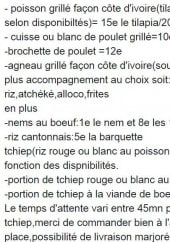 Menu Go food - Plats