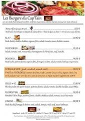 Menu Le Cap'Tain - Les burgers