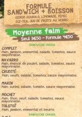 Menu Moby's Café - Moyenne faim