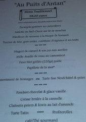 Menu Au Puits d'Antan - Menu traditionnel