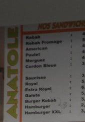 Menu Anatole - Les sandwiches et assiettes