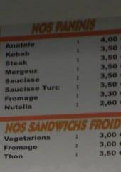 Menu Anatole - Les panins, sandwiches froides, desserts et boissons