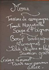 Menu Restaurant Chez René - Le menu
