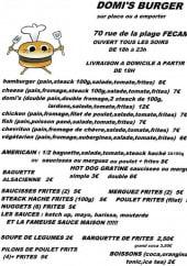 Menu Domi's Burger - Les hamburgers et autres