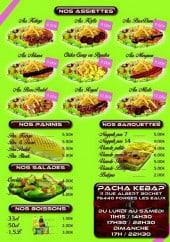 Menu Pacha kebab - Assiettes, paninis, salades...