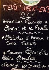 Menu Le Corsaire - Exemple de menu
