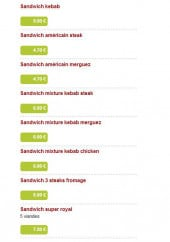 Menu Kas'Dal Kebab - Les sandwiches
