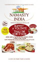Menu Namasty India - Carte et menu Namasty India Le Havre