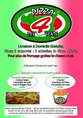 Menu Pizza des 4 Vents - Carte et menu pizza des 4 vents brie comte robert