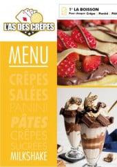 Menu L'As des crêpes - Crêpes sucrées et milkshake