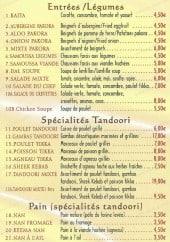 Menu Délice de Agra - Les entrées, les specialites, les plats...