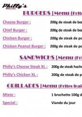 Menu Philly's diner - Burgers, sandwiches et grillades