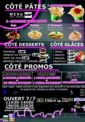 Menu Famy Grill - Côté pâtes, desserts, boissons,...