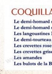 Menu La Criée - Les coquillages crustaces