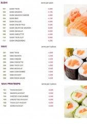 Menu Sushi Bar - Les sushis, les makis et les makis printemps