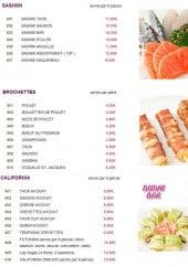 Menu Sushi Bar - Les sashimis, les brochettes et les californias