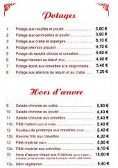 Menu La Taverne de Chine - Les potages, les hors d'oeuvres et les plats à vapeur