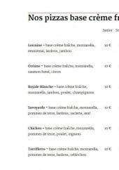 Menu Le Grillon - Les pizzas base crème fraîche