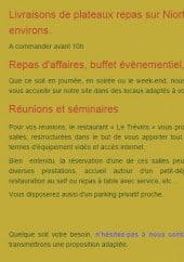 Menu Le restaurant Le Trévins - Les prestations maisons
