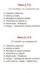 Menu La Braisière de Gaby - Les menus à 9€ et à 13€
