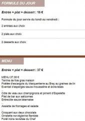 Menu L'Etoile du Jour - La formule du jour et le menu à 37€