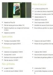 Menu La Bella Vita - Les hors d'oeuvre, spécialités, poissons et grillades