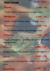 Menu Pizzeria De La Madeleine - Base tomate