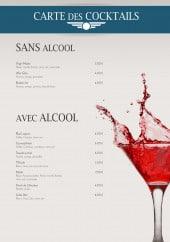 Menu L'Aviateur - Les cocktails