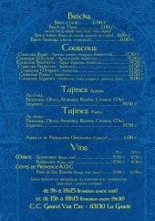 Menu La Baraka - Les menus à la carte