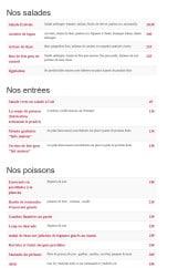 Menu Le Samana - Les salades, entrées, poissons et viandes