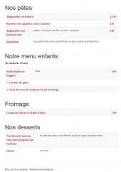 Menu Le Samana - Les pâtes, menus enfant, fromages et desserts