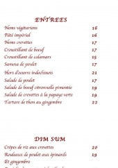 Menu Nioulargo plage - Les entrées et dim sum du menu kailargo