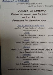 Menu Le Gambaro - Un exemple de menu de la semaine