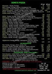 Menu Dimis pizza - Les pizzas: mexico, sicilienne, saumon...