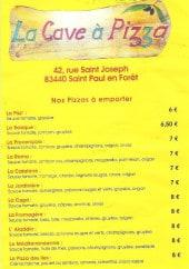 Menu La cave à pizza - Les pizzas: la basique, la catalane,...