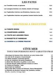 Menu La Renaissance - les pates et pizzas,..