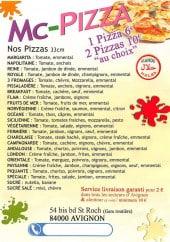 Menu MC pizza - Les pizzas