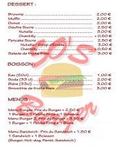 Menu So's Burger - Desserts, boissons et menus