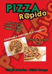 Menu Pizza Rapido - carte et menu rapido pizza orange