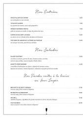 Menu Le chic - Les entrées, salades et viandes