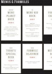 Menu Planet rock - Les menus et formules
