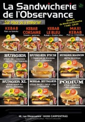 Menu Boucherie Sandwicherie De L'Observance - Carte et menu De L'Observance Carpentras